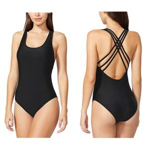 Criss cross back one piece swimsuit - large